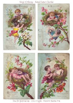 Wings rozmar: Nested Easter Cherubs #vintage #printable #ephemera #freebie #easter