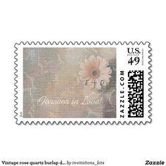 Vintage rose quartz burlap daisy wedding custom #wedding postage stamps #zazzle