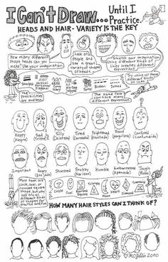 Learn to draw cartoon expressions and features of the face. This is a good lesson for beginners. by emma-q