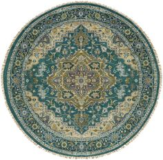 Surya Zeus Emerald Round Indoor Handcrafted Oriental Area Rug (Actual: dia) at Lowe's. The Zeus Collection showcases traditional inspired designs that exemplify timeless styles of elegance, comfort, and sophistication. With their hand Round Area Rugs, Blue Area Rugs, Traditional Area Rugs, Area Rug Runners, Geometric Rug, Wool Area Rugs, Wool Rugs, Decorative Accessories, Antiques