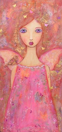 SUMMER, a mixed media fairy painting. $80.00, via Etsy.