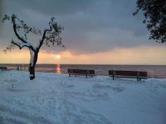 Temporale di neve sul lago di Garda