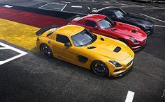 Download wallpapers Mercedes-Benz SLS, AMG, Black Edition, flag of Germany, German flag, sports cars, Yellow SLS, Red SLS, Black SLS, Mercedes