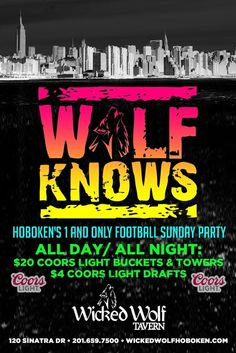 WOLF SUNDAYS! WOLF SUNDAYS have finally kicked off with the biggest lfootball parties in Hoboken!! September 27, 2015