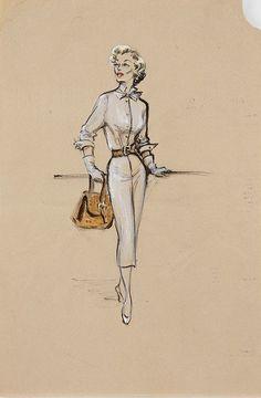 Esquisse et Croquis - Edith Head - Costumière à Hollywood - Lizabeth Scott - Scared Stiff - 1953