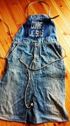 デニムリメイクエプロン出来ました! Work Aprons, Cute Aprons, Jeans Denim, Denim Bag, Ropa Shabby Chic, Couture, Shirt Makeover, Leather Apron, Denim Crafts
