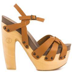 FLOGG Rainbow Platform Clog Sandal High Heel Wood Studded Strappy Luggage 8.5 #Flogg #PlatformsWedges #Casual