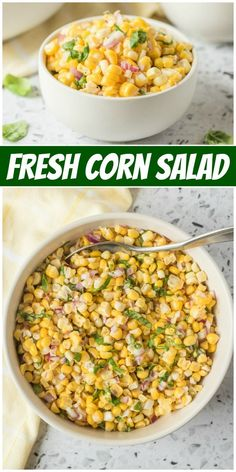 Fresh Corn Salad recipe from RecipeGirl.com #fresh #corn #salad #recipe #RecipeGirl Vegan Kitchen, Kitchen Recipes, Raw Food Recipes, Healthy Dinner Recipes, Beef Recipes, Vegetarian Recipes, Cooking Recipes, Freezer Recipes, Freezer Cooking