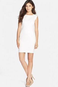 French Connection Extended Sleeve Cotton Blend Sheath Dress $ 100.80