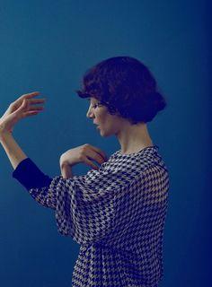 Miranda July by brigitte sire Lovely blue hues Miranda July, Little Bit, People Of Interest, Short Bob Hairstyles, Traditional Art, Short Hair Styles, Style Inspiration, Actresses, Portrait