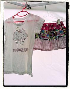 Cutie Cupcake Birthday 2pc Outfit Boho skirt & applique shirt by V3STIOs, $29.99