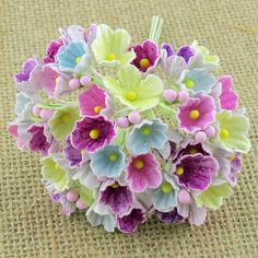 40 PASTEL COLOUR FORGET ME NOT FABRIC FLOWERS