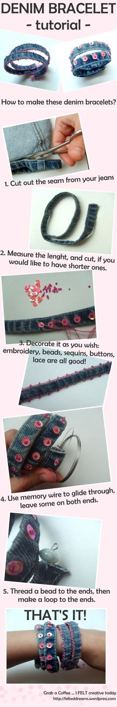 Denim bracelet tutorial 2019 Craft Tutorials Do It Yourself Crafts Pictures Crafting Patterns Craftster The post Denim bracelet tutorial 2019 appeared first on Denim Diy. Armband Tutorial, Bracelet Tutorial, Diy Jeans, Recycle Jeans, Jeans Fit, Jean Crafts, Denim Crafts, Bracelet Denim, Bracelets