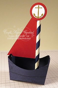 Sailboat Favor Sea Street Nautical Party Ensemble July 2014 - Craft Project Central Designed by Card Lovenstein - Stampin' Up!