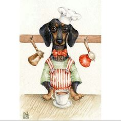 Dachshund Art, Dachshund Gifts, Delphine, Dog Art, Cute Dogs, Animals And Pets, Drawings, Illustration, Artwork