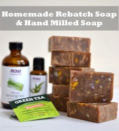 A recipe for homemade rebatch soap, also called hand milled soap, with green tea, lemongrass and eucalyptus essential oil.