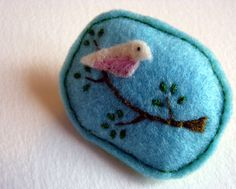 Hand embroidered bird detail felt brooch by FudgeandPoppy on Etsy, £5.00