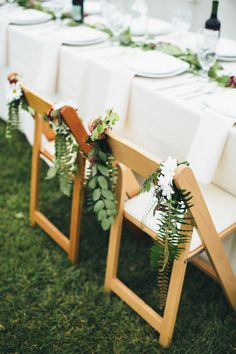 Chair garland | Photo by Paige Jones | Read more - http://www.100layercake.com/blog/?p=79815