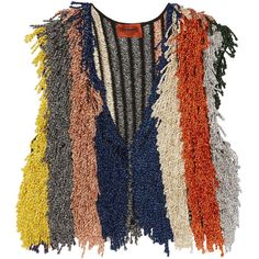 Missoni Cropped fringed metallic stretch-knit vest ($1,185) ❤ liked on Polyvore featuring outerwear, vests, vest waistcoat, striped knitwear, striped vest, orange vest and cropped vests