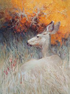 Golden Cover by Abigail Gutting Oil ~ 24 x 18 Wildlife Paintings, Wildlife Art, Animal Paintings, Landscape Paintings, Deer Drawing, Painting & Drawing, Deer Art, All Art, Art Drawings