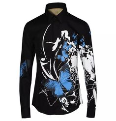 Ink Printing Butterfly Casual Dress Shirt 100% Cotton Clothing Animal Print Contract Color Mens Slim Fit Top Plus Size Limited Sale