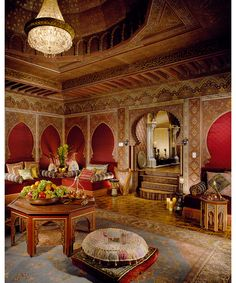 Le Belvedere - DuJour - M. Hadid's Morrocan inspired room is where I would indulge myself. I'm obsessed with Indian, Turkish, Persian, Moroccan and other exotic interiors.