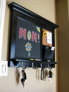 Heirloom Quality Wood Framed Bulletin Board - Chalkboard Keyhook Message Center with Mail Cubby Organizer in White or Black. $155.00, via Etsy.