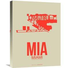 Naxart 'MIA Miami Poster 3' Painting Print on Wrapped Canvas Size:
