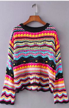 Colorful Knit Sweater Details: Simple and fashion, and perfect for relaxed time. provide you a great support and a flattering look. Moda Crochet, Knit Crochet, Crochet Baby, Free Crochet, Cut Sweatshirts, Crochet Cardigan, Crochet Fashion, Color Stripes, Crochet Clothes