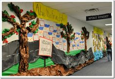 Decorated hallways throughout the building....based on each grades curriculum