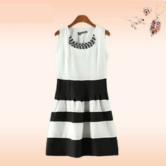 Summer Black White Splicing Chiffon Dress Women