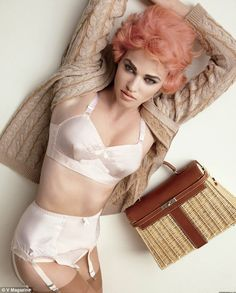 Powder Pink Satin Lingerie and Puffy Pink Hair!