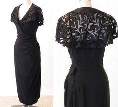 Vintage 1950s Black Cocktail Dress Silk 50s by daisyandstella, $200.00  https://www.etsy.com/listing/120899588/vintage-1950s-black-cocktail-dress-silk