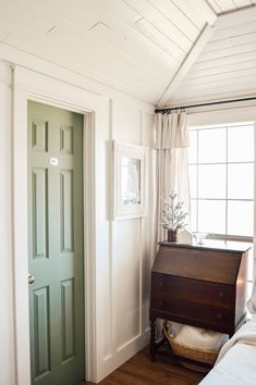 doors Olive green Magnolia paint line from Target Magnolia Paint, Magnolia Green, Painted Interior Doors, Painted Doors, Sage Green Bedroom, Winter Bedroom, Vert Olive, French Country Living Room, Hygge Home