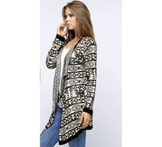 Navajo Winter - Coming Soon - Long sleeve tribal print cardigan. Lurex, Open-front. Ribbed trim at neckline, cuffs, and hem.  Available: S-M-L - $44 | GracieGene's Boutique - Garden Ridge, TX