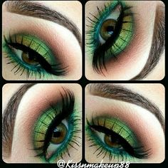 Fun eye - try with Mary Kay Emerald, Lime, and Chocolate. As a Mary Kay Beauty Consultant I would love to help Pretty Makeup, Love Makeup, Makeup Art, Makeup Tips, Beauty Makeup, Makeup Looks, Green Makeup, Makeup Ideas, Makeup Primer