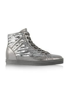 HOGAN REBEL Women s Fall - Winter 2012 13 Collection  R141 High-Top leather  sneakers with sequins. 0ce266a88dc