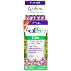 Natrol, Диетическая добавка AcaiBerry, суперфуд асаи и зеленый чай, 60 вегатарианских капсул