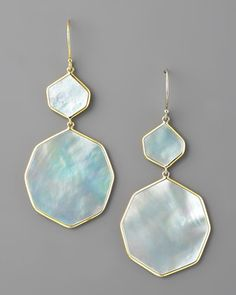 Irregular-Drop Mother-of-Pearl Earrings by Ippolita. Smooth, graduated, irregularly shaped Mother-of-Pearl drops.  18K Yellow Gold settings.  French wire backs.