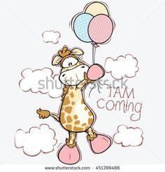 cute giraffe flying with balloons