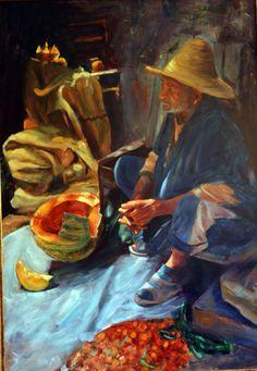 Vendedor Marroquí 116x081 Óleo sobre Lienzo