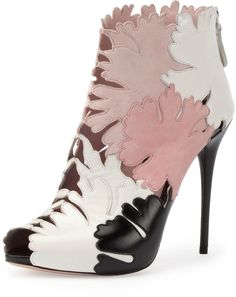 Alexander McQueen Leaf Cutout Open-Toe Ankle Boot, Multi Colors