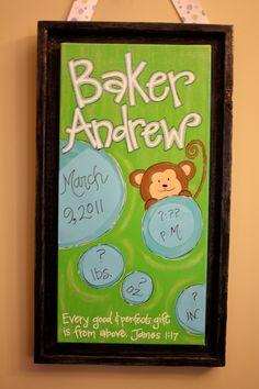 CUSTOM Hand Painted Canvas Birth Announcement/ Hospital Door Hanger/Nursery Wall Art. $75.00, via Etsy.