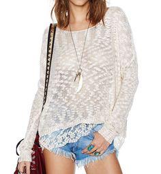 Lace Hem Oversized Fishnet Knit Sweater