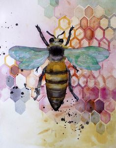 """I painted this for a friend's mother who's planning to keep bees this year. Watercolor on Arches CP, 12"""" x 17"""" I'm experimenting with image processing in case I ever want to produce prints. A big d..."""