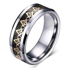 Gold Masonic Titanium Stainless steel Black Carbon Fiber Silver Ring Band