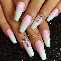 Pink & White Ombré with Glitter