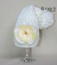 """""""Ivory Rose"""" 3 in 1 crocheted photography prop hat"""