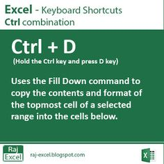 Raj Excel: Excel Shortcut Keys:  Ctrl + D (Duplicate data)