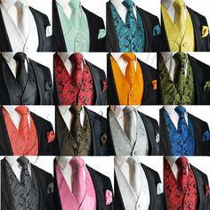 XS to 6XL Paisley Design Tuxedo Suit Dress Vest Waistcoat & Necktie Set Wedding #BrandQ